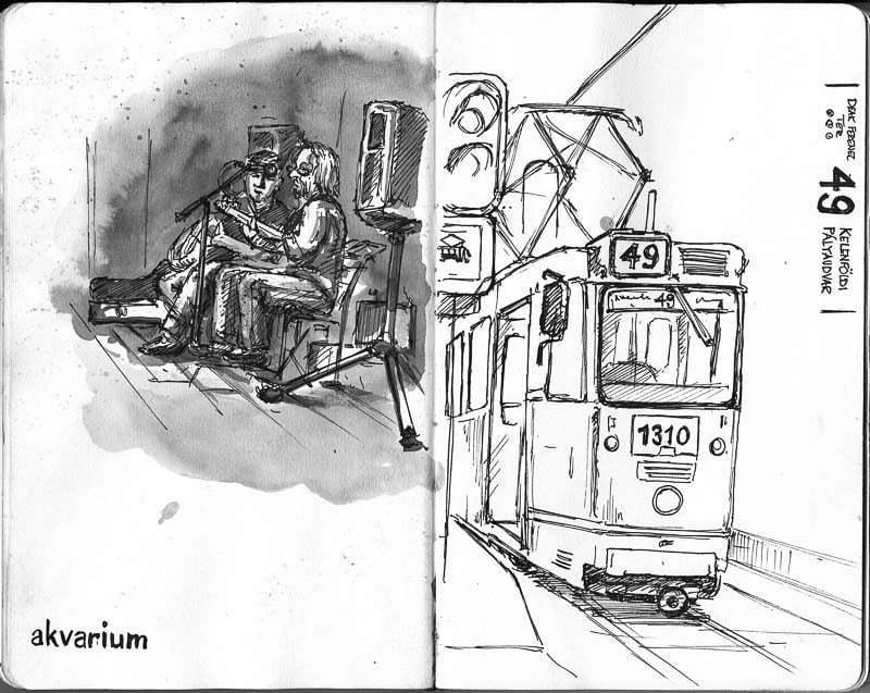 Interrail 2012 - Sketch at akvarium, Budapest