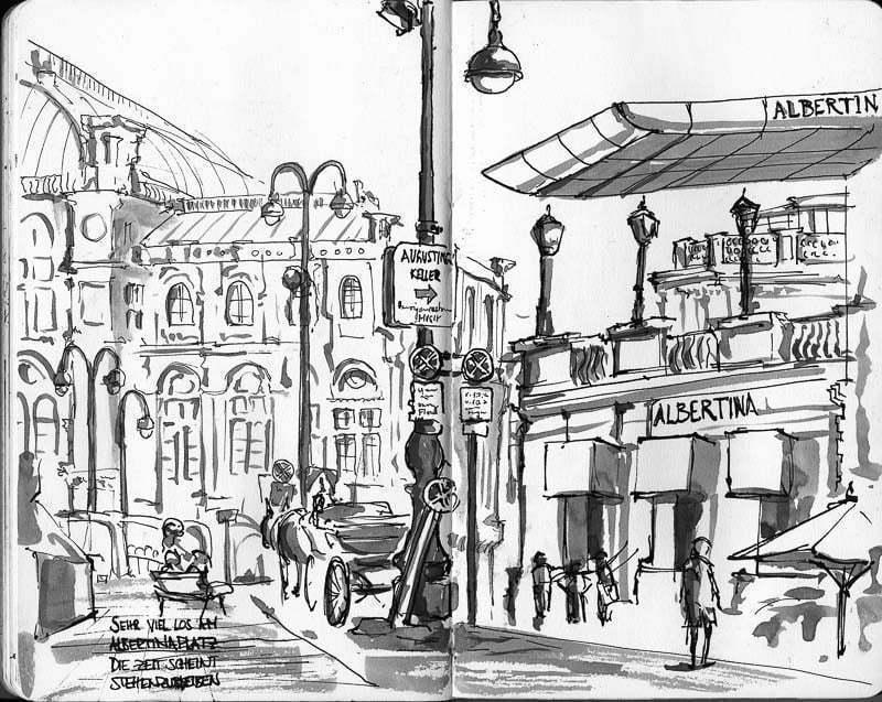 Interrail-2012 - Sketch of Albertinaplatz, Vienna