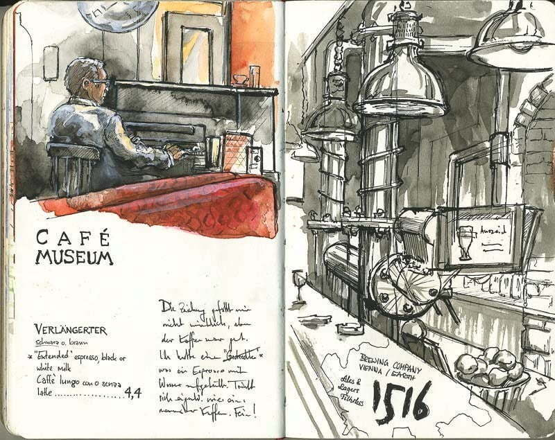 Interrail-2012 - Sketches of Café and Brewpub, Vienna
