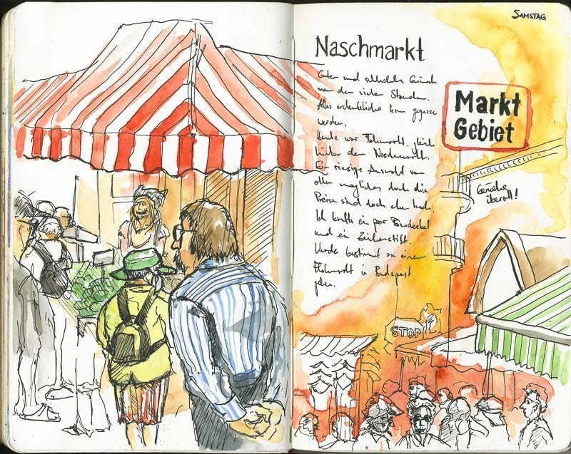 Interrail-2012 - Sketches of Naschmarkt, Vienna