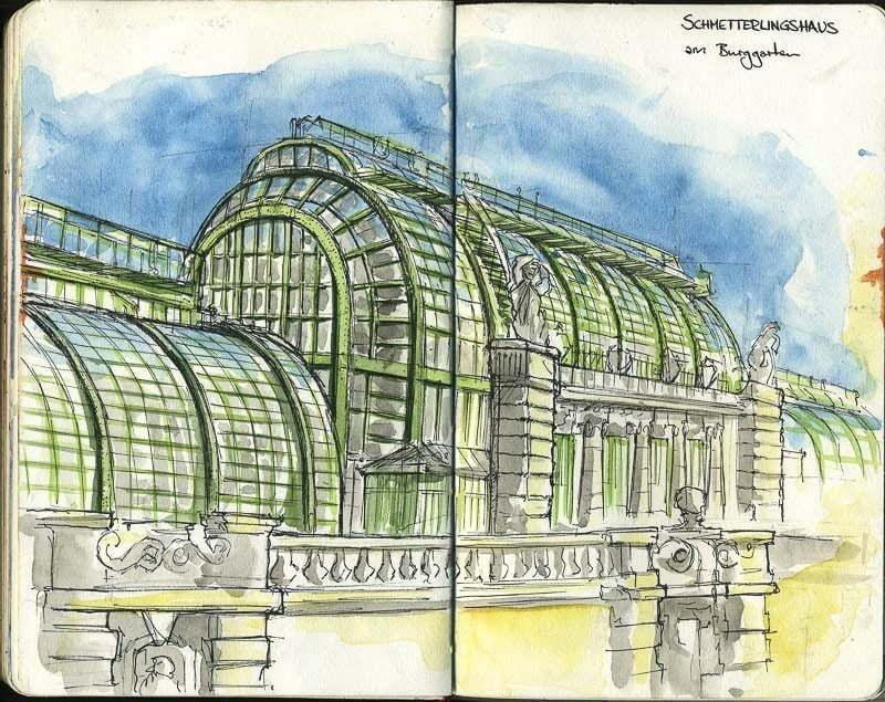 Interrail-2012 - Drawing of Schmetterlingshaus, Vienna