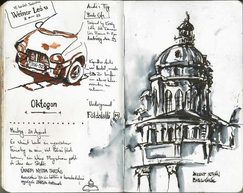 Interrail-2012 - Drawing of Szent István-bazilika (St. Stephen's Basilica), Budapest