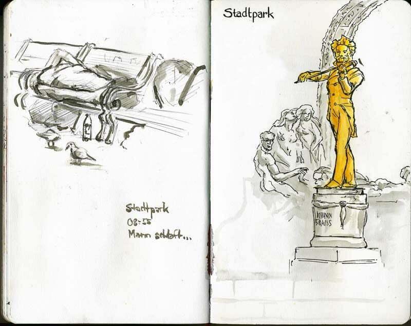 Interrail-2012 - Sketches of Stadtpark Vienna, Johann Strauss
