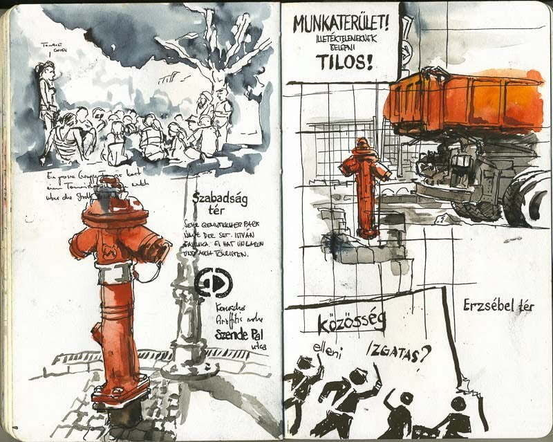 Interrail 2012 - Sketches in the street, Budapest