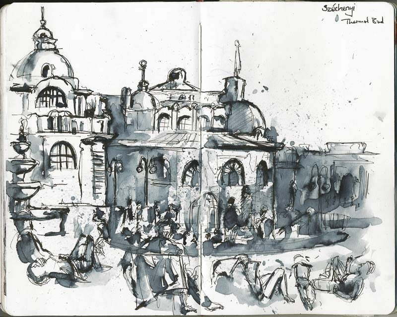 Interrail 2012 - Sketch of Szechenyi thermal bath, Budapest