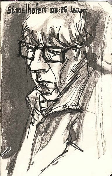 Sketch of a man on the train