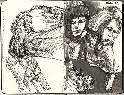 Sketches of people on trains