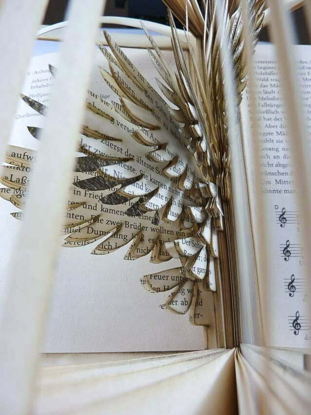 Lasercut book - Closeup of cut pages