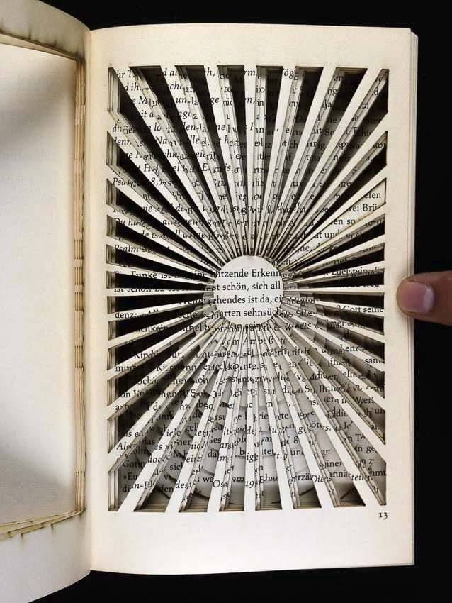 Lasercut book - Different layers of cut visible