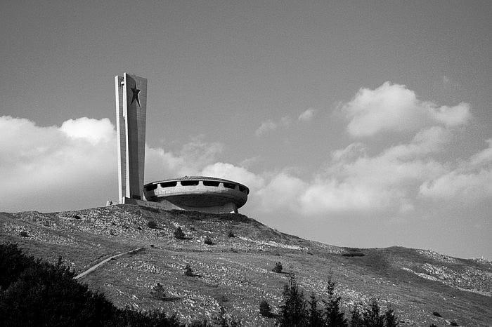 Side view of the Buzludzha monument, Bulgaria