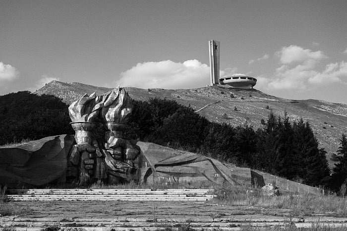 The Torch monument further down the road, Buzludzha, Bulgaria