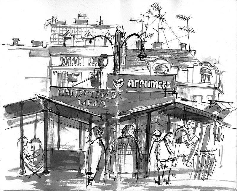 Belgrade, Drawing of Bajlonijeva pijaca market