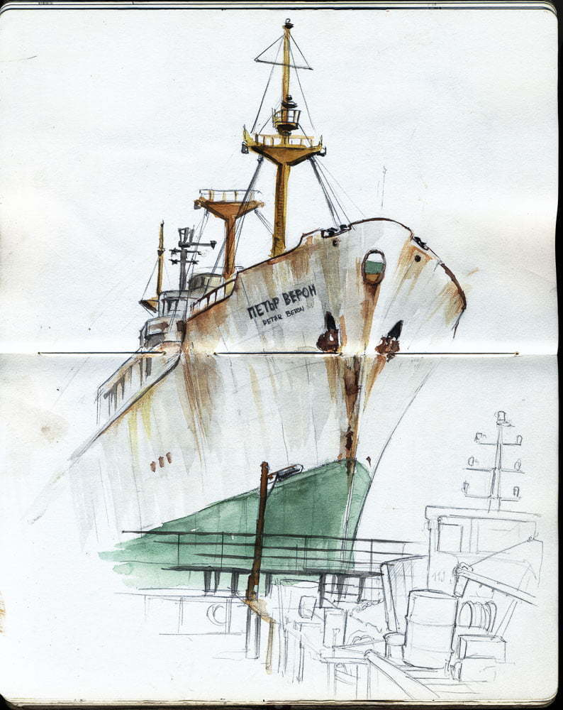 Varna, Drawing of the ship Peter Beron in the port of Varna