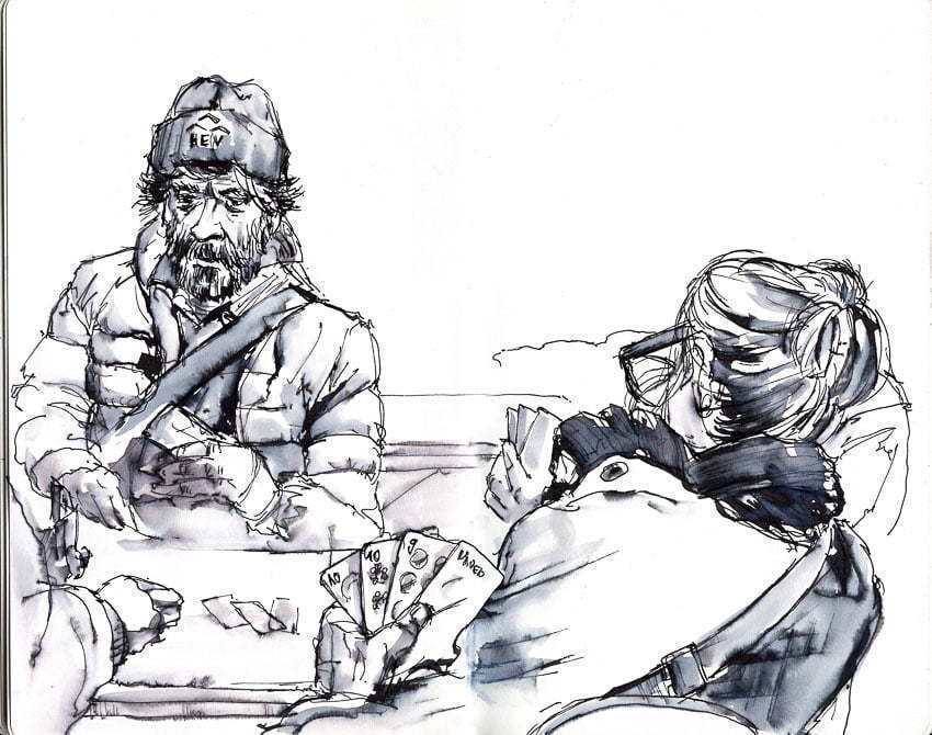 GasseChuchi Luzern - Drawing of people playing cards