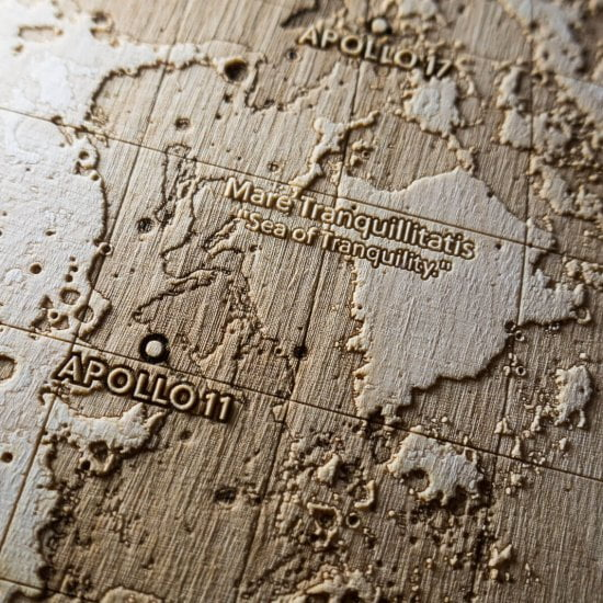 Apollo 11 Landing Site - Topographic map of the Moon – Laser engraving in wood by Robin Hanhart