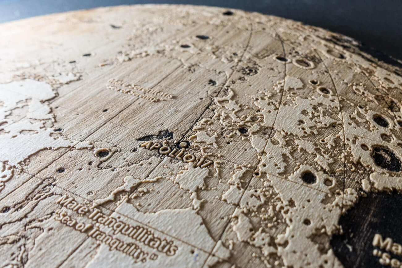 Apollo 17 - Topographic map of the Moon – Laser engraving in wood by Robin Hanhart