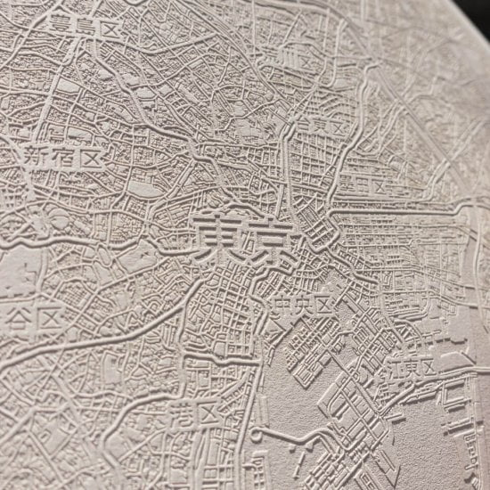 Laser engraved paper map of Tokio, Japan by Robin Hanhart