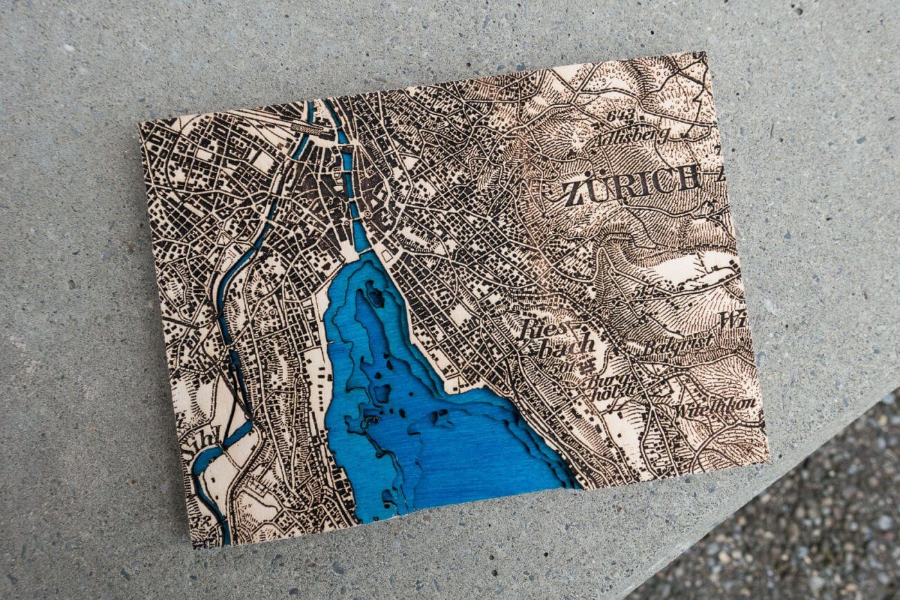 Zurich 1933 Dufour map - Detail of laser engraving