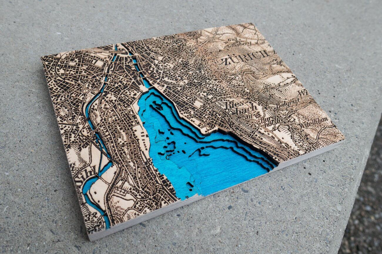 Bathymetric model of Dufour map Zurich in 1933 by Robin Hanhart